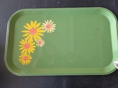 Tin Han-d Tray Vintage Retro 60s Daisy Serving Pan (G4L) Green Flower Power