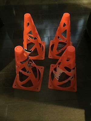 "4Pcs Traffic Cones 9"" - Slim Orange Road Safety Traffic Parking - Preowned 2"