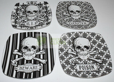 "222 Fifth Halloween Skulls Porcelain Salad Dishes Plates 8"" Black/White Set of 4"