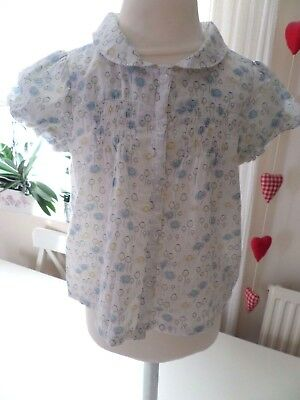 Vertbaudet- Vintage Floral Soft White Cotton Collared Blouse Top - Girls 2 Years