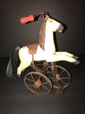 """Vintage Antique Horse on Tricycle, Wood and Metal, 13"""" High"""