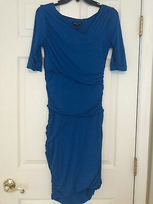 Isabella Oliver Maternity Blue Ruched 3/5 Sleeve Dress Size 3 - UK 12, US 8