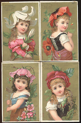 Set Of 4 Small Trade Cards, Same Little Girl, W T Eccles Fine Shoes, Cohoes, N.y