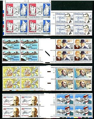 Air Mail Issues of 1985 to 1989 Set of 9 MNH Plate Blocks Scott's C113 to C121