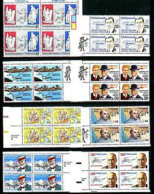 Air Mail Issues of 1985 to 1989 Set of 9 ZIP Blocks Scott's C113 to C120