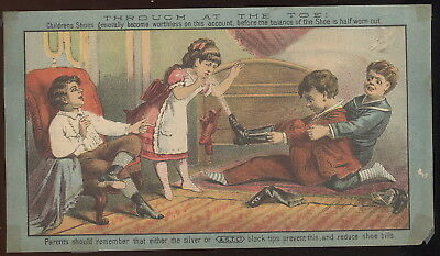 1880S Paper Card, A.s.t. Co. Silver Or Black Tip Shoes, E S Fay, Springfield, Ma