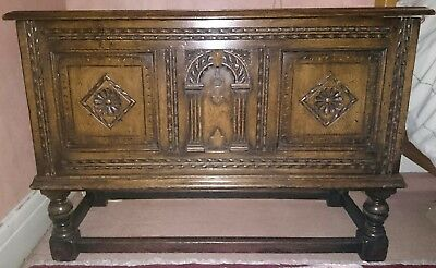 Fantastic 18th century antique oak coffer rug blanket box, chest, trunk on stand
