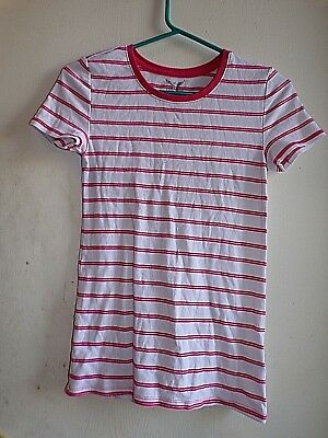 Faded Glory GIRLS White Red Stripped T Shirt Top - SMALL- 4-6