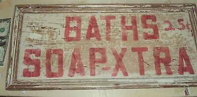 trade wooden vintage sign baths 25 cents framed notalgia shabby chic antique