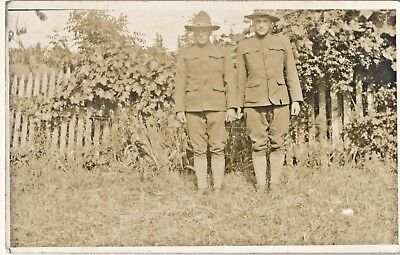c1914 RPPC Two World War WWI One Soldiers Sepia Real Photo Postcard, AZO