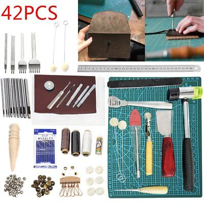 42pcs Leather Craft Tools Sewing Stitching Punch Carving Work Saddle Groover Set