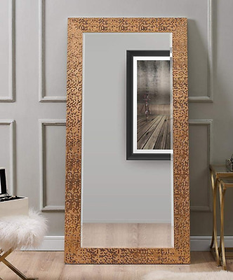 Large Full Length Floor Mirror Wall Hang Leaning Lounge Copper Mosaic Ornate New