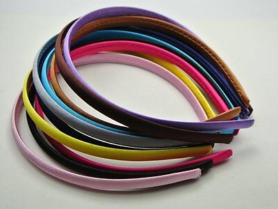 15 Mixed Color Candy Plastic Headband Covered Satin Hair Band 10mm DIY Craft New