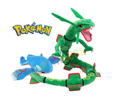 Set of 2 Pokemon Center Green Rayquaza  and Kyogre Plush Doll Soft Stuffed Toy