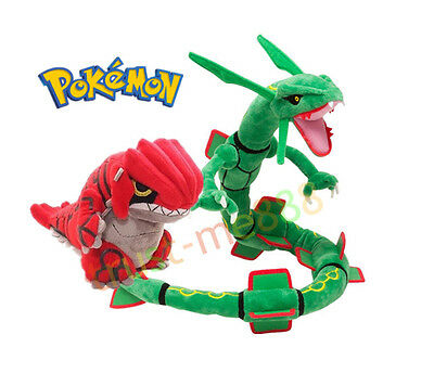 2PCS Pokemon Center Rayquaza and Groudon Soft Plush Toy Stuffed Doll Xmas Gift