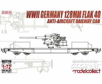 Modelcollect UA72118 WWII Germany 128mm Flak 40 Anti-Aircraft Railway Car in 1:7