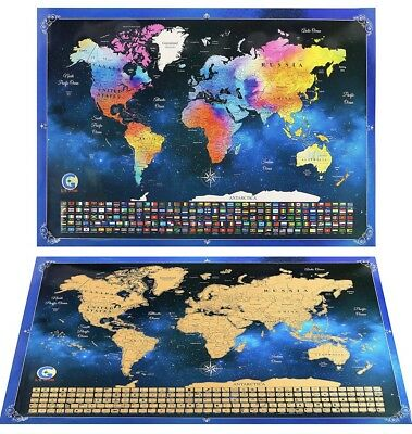 "Scratch Off World Map Poster US States Country Flags Travel Gift XL 33.9""x 23.9"""