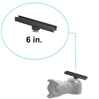 "Aluminium Alloy 6"" Flash Brackets Extension Bar with Cold Shoe for DSLR 6in/15cm"