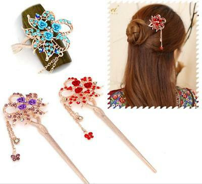 Hair Chopsticks Chinese Style Metal Rhinestone Hair Stick Hairpin Chignon Pin