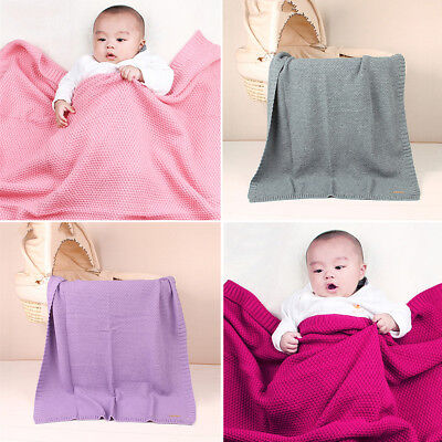 Baby Blanket Knitted Newborn Infant Swaddle Wrap Soft Toddler Sofa Bed Rug Quilt