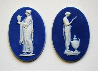 Pair of late 18th/early 19th Century Wedgwood dark blue jasper plaques.
