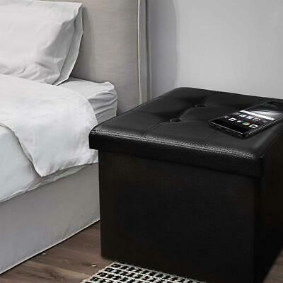 Ottoman Foot Rest Footstool Cube Box Storage Faux Leather - Black