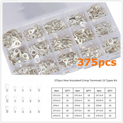 375 X Car U-type Electric Cable Wire Wiring Terminal Connector Kit Tin-Plated