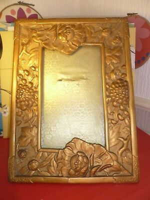 Large Antique/Vintage Gilded Japanese Antimony Easel Frame Peonies Chrysanths