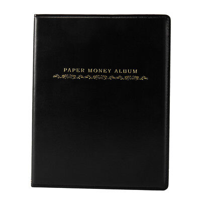 60 Pockets Leather Notes Album Banknote Paper Money Collection Stamps Book CA