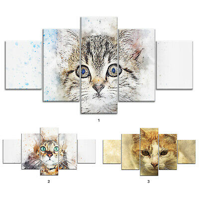 Cat Pet Animal Canvas Print Painting Framed Home Decor Wall Art Poster 5P