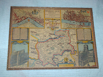 framed map of middlesex 1610  45 cm by 34 cm