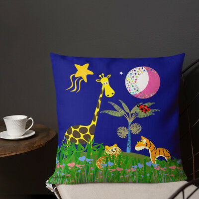 Giraffe, Tiger, Lion - High Quality Faux Suede Or Poly Satin Cushion