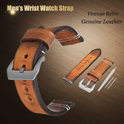 22mm 24mm Genuine Leather Wrist Watch Band Strap Vintage Retro Thick Men's Belt