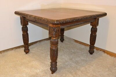 Victorian Jacobean Revival Single Leaf Extendable Dining Table by Druce & Co