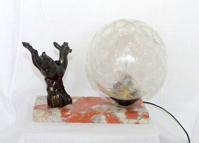 French Art deco lamp with bronze/spelter leaping deer fawn statue. Beautiful!