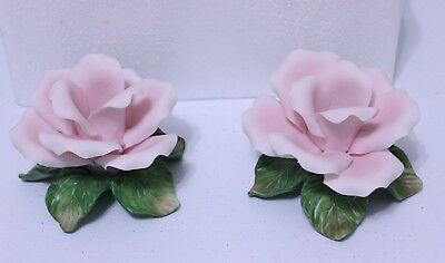 Avon Pink Rose Blossoms Taper Candle Holders Set of Two Porcelain