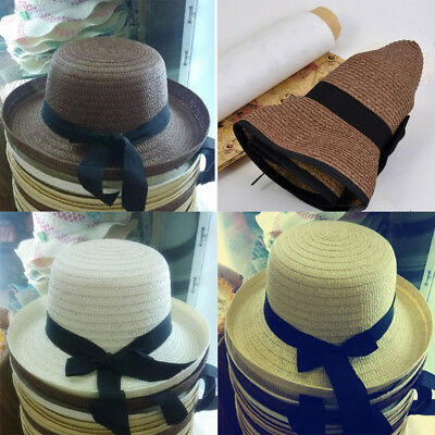 B947 Summer women Trilby Sunhat Straw bowknot Beach Cap Ladies Wide Brim Hat Z