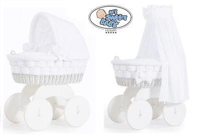 Bianca Luxury White Baby Wicker Crib Moses Basket With Canopy Or Hood & Bedding