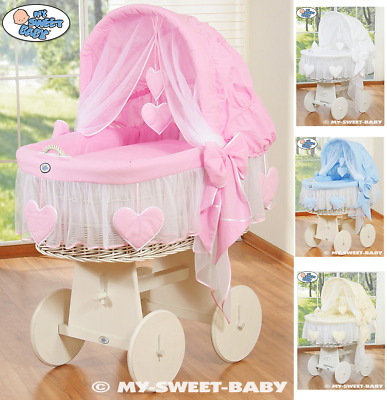 Amelie Classic Baby Wicker Crib Moses Basket, Foldable Hood & Bedding  4 Colours
