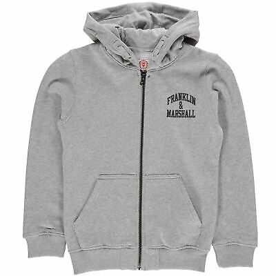 Franklin and Marshall Badge Zip Hoodie Childrens Hoody Hooded Top Zipped Stamp