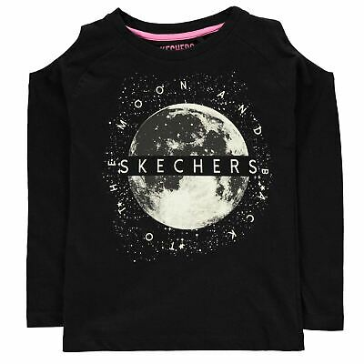 Skechers Cold Shoulder Full Length Sleeve T Shirt Youngster Girls Tee Top Crew