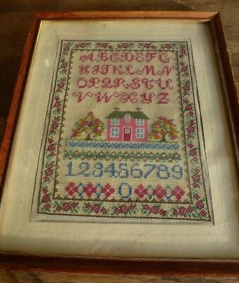 Small Vintage Antique Alphabet & House Framed Cross Stitch Embroidery