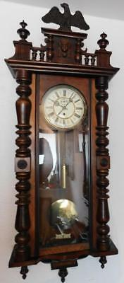 a walnut cased single weight vienna wall clock c1900s