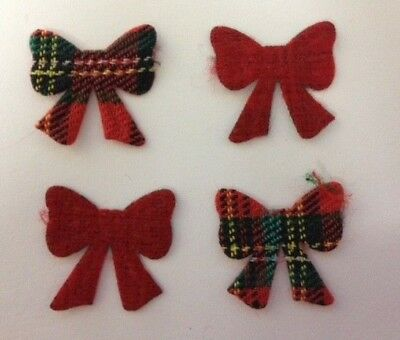 50 Red Green Tartan Bows Christmas Card Making Scrapbook Craft Embellishments