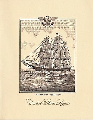 1957 U. S. Cruise Line SS United States Kiwanis and Lions Luncheon Menu At Sea