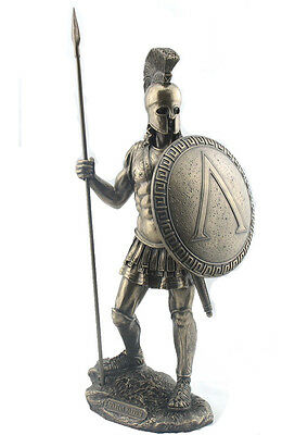 SPARTAN WARRIOR with Spear & Hoplite Shield Statue Sculpture Figure **MUST SEE