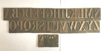 31 x Large Vintage Metal Brass Printing Type Set Characters Letters ALPHABET