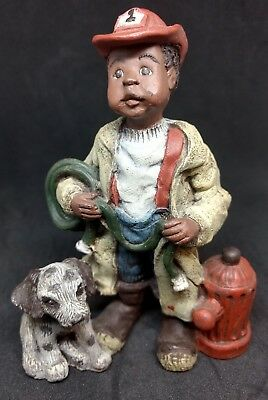 SARAH'S ATTIC Black FIREMAN Boy w/ Fire Hydrant and Puppy Collectible