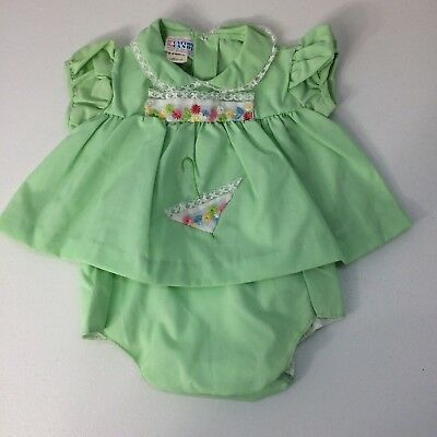 Vintage Catton Candy 2 Piece Baby Outfit Green With Embroidery Newborn-3 Months
