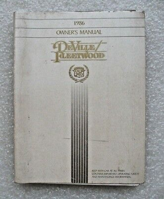 1986 Cadillac Deville And Fleetwood Owners Manual